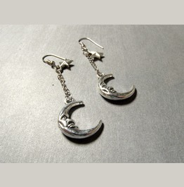Crescent Moon And Star Dangle Earrings