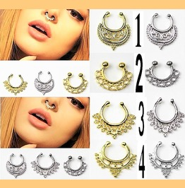 Edgy Indian Ethnic Tribal Style Non Piecing Faux Septum Nose Clip On Rings