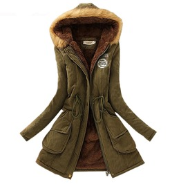 Patch Design Adjustable Waist Slim Thick Winter Coat Parkas Women