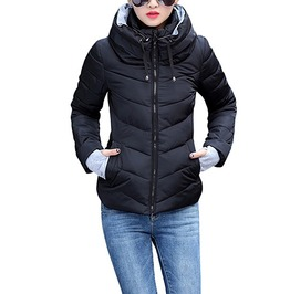 Solid Hooded And No Hood Slim Cotton Padded Winter Jacket Parkas Women