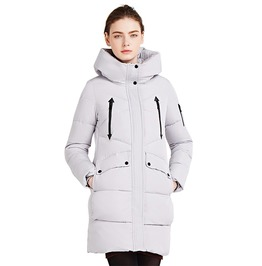Soft Fabric 100% Polyester Bio Down Winter Hooded Coat Jacket Women