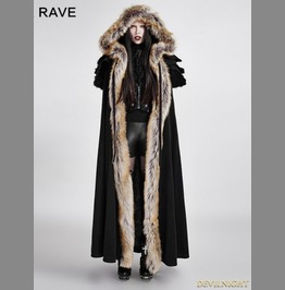 Black Gothic Wool Collar Long Cloak For Women Y 673 Fbk