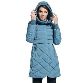 100% Polyester Bio Velvet Down Long Winter Hooded Coat Jacket Women