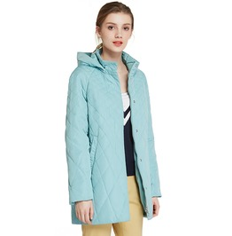 Detachable Hood Thin Cotton Autumn Winter Solid Long Women Coat