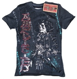Amplified Samurai Skull Rock Star Diamante Strass Shirt