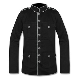 Men's Goth Military Officer Pure Blazer Wool Jacket Steampunk Rock Wear