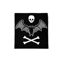 Patch Fishnet Lace Bat With Skull & Crossbones