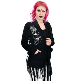 Long Fringe Cardigan Witch Bitch Crystal Ball & Moons