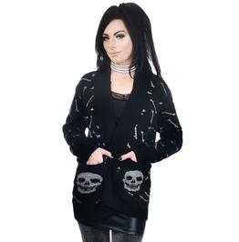 Long Cardigan Glitter Bones & Skull