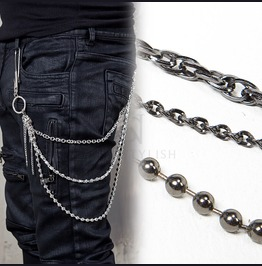 Metal Beads And Hook 3 Line Wallet Chain 37