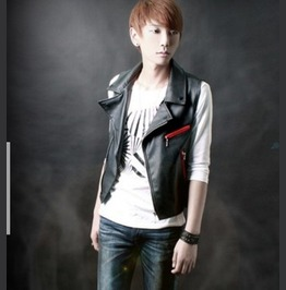 Punk Rock Pu Leather Slim Fit Vest
