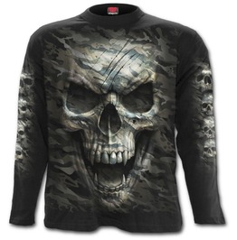 Men,S New Army Skull Long Sleeve Black T Shirt