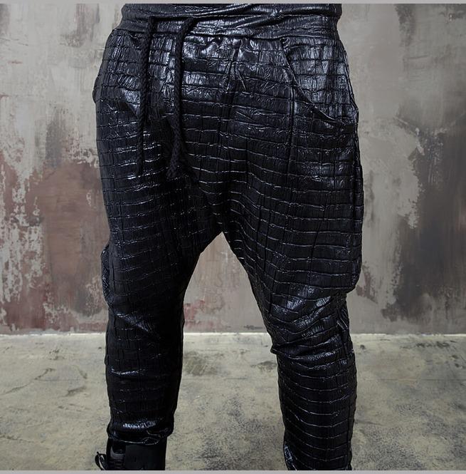 Crocodile Pattern Black Baggy Pants 162 Rebelsmarket