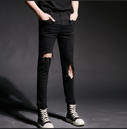 Fashion Ripped Jeans Mens Casual Straight Skinny Pants