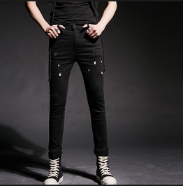 Mens Skinny Pants Fashion Slim Fit Casual Jeans