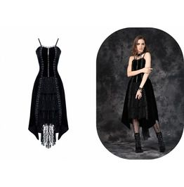 Dw084 Gothic Punk Velet Dress With Jacquard Lace And Corn Row