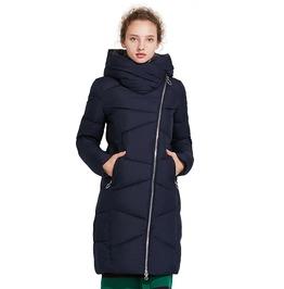 Oblique Zipper Closure Medium Length Autumn Winter Quilted Jacket Women