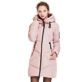 Medium Length Solid Color Zipper Pockets Autumn Winter Quilted Jacket Women