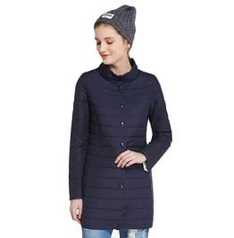 Single Breasted Side Pockets Cotton Padded Slim Winter Jacket Coat Women