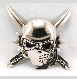 Ninja Skull Belt Buckle Huge Chrome