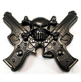 Skull & Guns Belt Buckle Black Metal