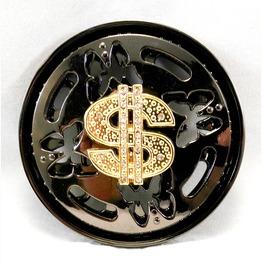 Dollar Sign Spinner Belt Buckle Black & Gold