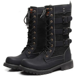 Men's Multi Buckles Lace Up High Boots Martin Boots