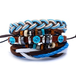 Men's Multilayer Knitted Leather Rope Chain Charm Bracelet
