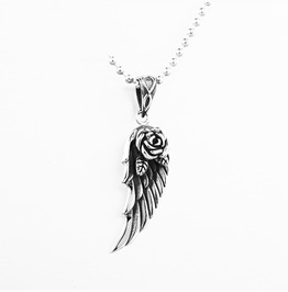 Fashion Rose Feather Pendant Necklace