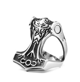 Men's Viking Thor's Hammer Titanium Stainless Steel Ring