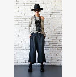 Black Loose Pants/Black Maxi Pants/3/4 Pants/Black Casual Capris/Wide Leg