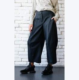 Black Loose Pants/Black Maxi Pants/3/4 Pants/Black Casual Capris/Wide Leg