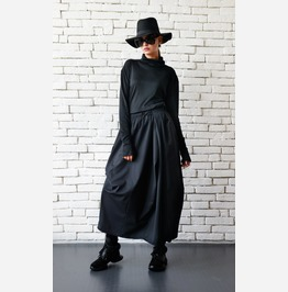 Asymmetric Long Black Skirt/Extravagant Casual Skirt/Loose Black Skirt