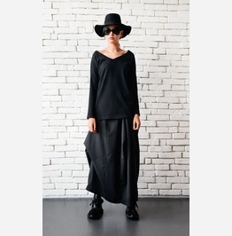 Loose Black Tunic/V Neckline Top/Long Sleeve Basic Tunic/Loose Black Top