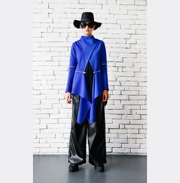 Asymmetric Blue Coat/Extravagant Zipper Jacket/Royal Blue Loose Tunic