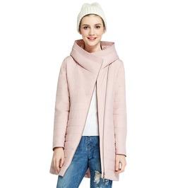 Autumn Oblique Placket Design Medium Length Hooded Winter Jacket Women