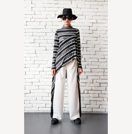 Loose White Pants/Black Line Pants/Long Elegant Trousers/Wide Leg Pants