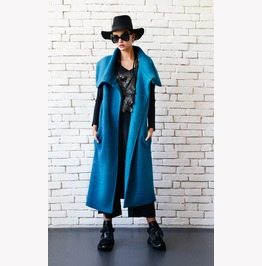 Blue Petrol Winter Coat/Long Warm Coat/Oversize Blue Jacket/Wool Vest