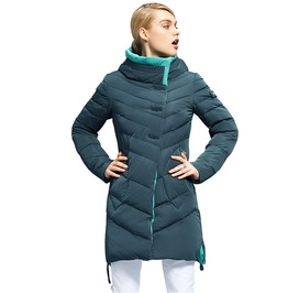 Medium Length Stand Collar Hooded Quilted Winter Jacket Women