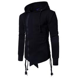 Men's Cropper Hem Zipper Drawstring Hoodies