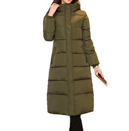 Plus Size Hooded Cotton Slim Zipper Down Parkas Quilted Winter Jacket Women