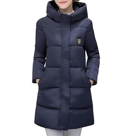 Patch Design Stand Collar Hooded Slim Quilted Winter Parka Jacket Women