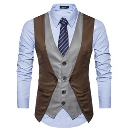 Men's Single Breasted Slim Fitted Contrast Vest