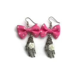 Pink Bow And Skeleton Hand Earrings Halloween, Day Of The Dead