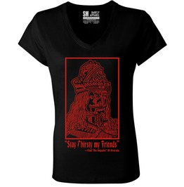 "Barfly Apparel ""Stay Thirsty"" Women's Deep V Neck Black Tee"