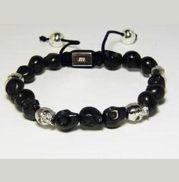 Black Silver Skull Shambhala Bracelet
