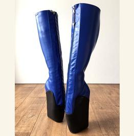 18cm Secret W Ballet Wedge Boot Hoof Heelless Zip Fetish Blue Black Matte