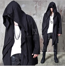 Avant Garde Double Big Hooded Black Coat 141