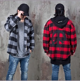 Hooded Checkered Zip Up Jacket 284
