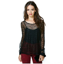 Women's Sexy Lace Sheer Long Sleeve Standard Tops